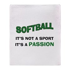 Softball It's a Passion Throw Blanket