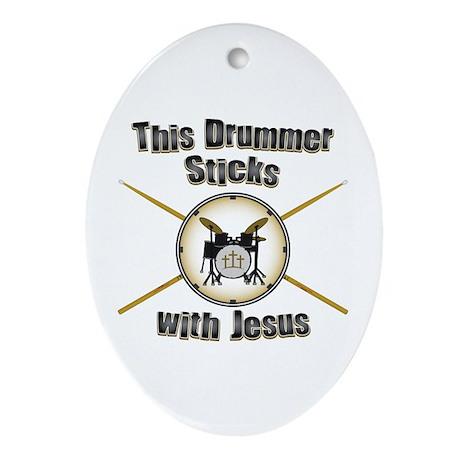 Christian Drummer Ornament (Oval)