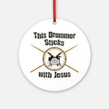 Christian Drummer Ornament (Round)
