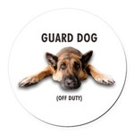 Guard Dog Round Car Magnet