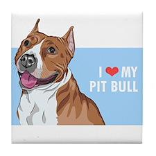 I Love My Pit Bull Tile Coaster