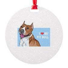 I Love My Pit Bull Ornament