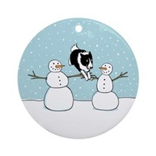Border Collie Holiday Ornament (Round)