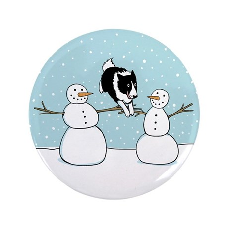 "Border Collie Holiday 3.5"" Button (100 pack)"