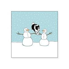 "Border Collie Holiday Square Sticker 3"" x 3"""