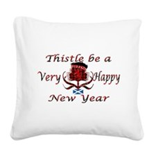 Red tartan thistle new year Square Canvas Pillow