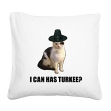 Thanksgiving Turkey Lolcat Square Canvas Pillow