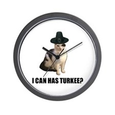 Thanksgiving Turkey Lolcat Wall Clock
