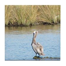 Sitting Pelican Bird Tile Coaster