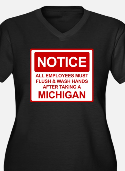 Flush Michigan Women's Plus Size V-Neck Dark T-Shi