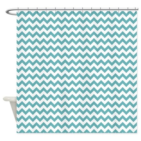 Aqua Blue White Chevron Print Shower Curtain By Printedlittletreasures