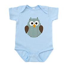 Blue Brown Polka Dot Owl Infant Bodysuit