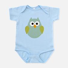 Blue Green Polka Dot Owl Infant Bodysuit