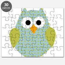 Blue Green Polka Dot Owl Puzzle