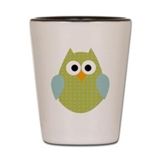 Green Blue Polka Dot Owl Shot Glass