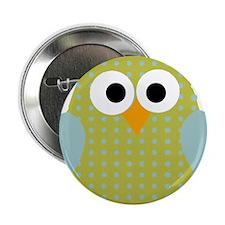 """Green Blue Polka Dot Owl 2.25"""" Button"""