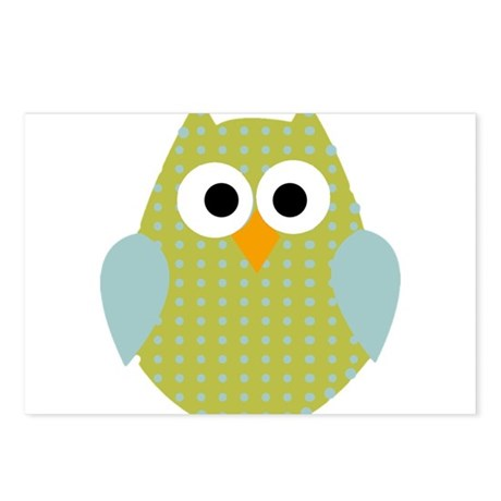 Green Blue Polka Dot Owl Postcards (Package of 8)