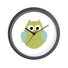 Green Blue Polka Dot Owl Wall Clock