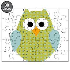 Green Blue Polka Dot Owl Puzzle