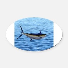Blue Marlin on Water Oval Car Magnet