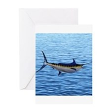 Blue Marlin on Water Greeting Card