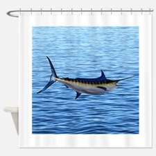 Blue Marlin on Water Shower Curtain