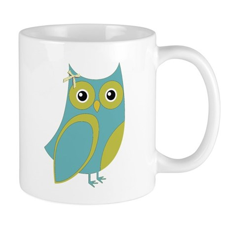 Blue Green Bow Owl Mug