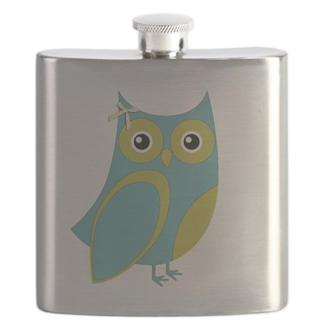Blue Green Bow Owl Flask