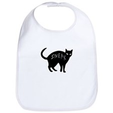 dark sneaky black kitty cat on Halloween Bib