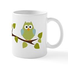 Green Polka Dot Owl in Tree Branch Mug