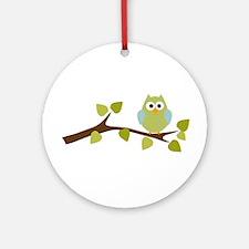 Green Polka Dot Owl in Tree Branch Ornament (Round