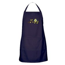 Green Polka Dot Owl in Tree Branch Apron (dark)