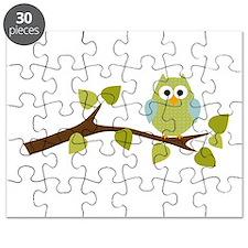 Green Polka Dot Owl in Tree Branch Puzzle