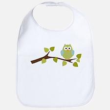 Green Polka Dot Owl in Tree Branch Bib