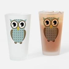 Blue Mod Print Owl Drinking Glass