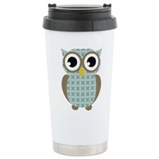 Blue Mod Print Owl Travel Coffee Mug