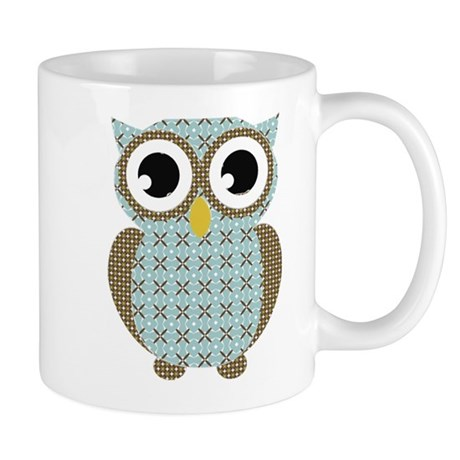 Blue Mod Print Owl Mug