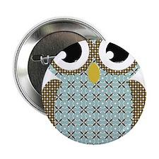 "Blue Mod Print Owl 2.25"" Button (100 pack)"