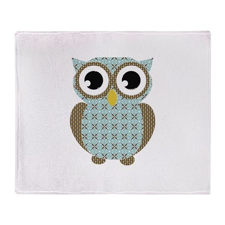 Blue Mod Print Owl Throw Blanket