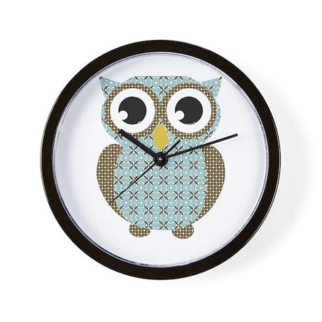 Blue Mod Print Owl Wall Clock