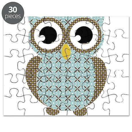 Blue Mod Print Owl Puzzle