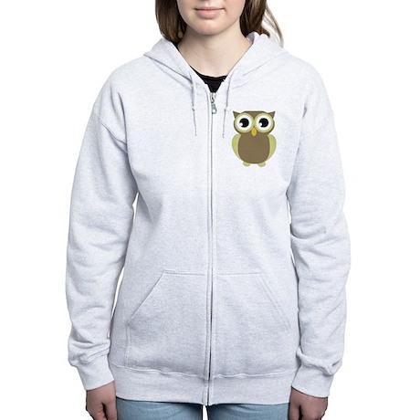 Green Brown Mod Owl Women's Zip Hoodie