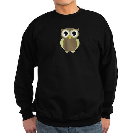 Green Brown Mod Owl Sweatshirt (dark)