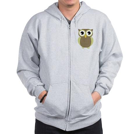 Green Brown Mod Owl Zip Hoodie