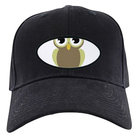 Green Brown Mod Owl Black Cap