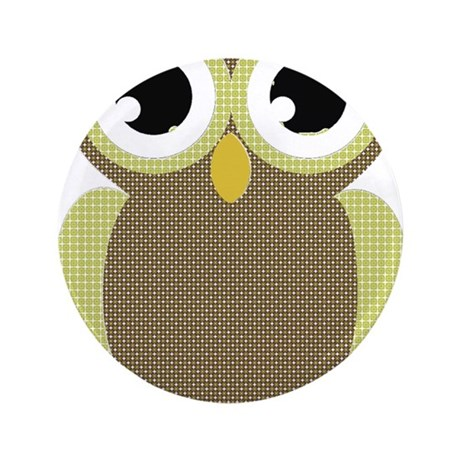 "Green Brown Mod Owl 3.5"" Button (100 pack)"