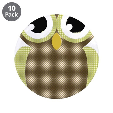"Green Brown Mod Owl 3.5"" Button (10 pack)"