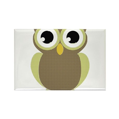Green Brown Mod Owl Rectangle Magnet (10 pack)