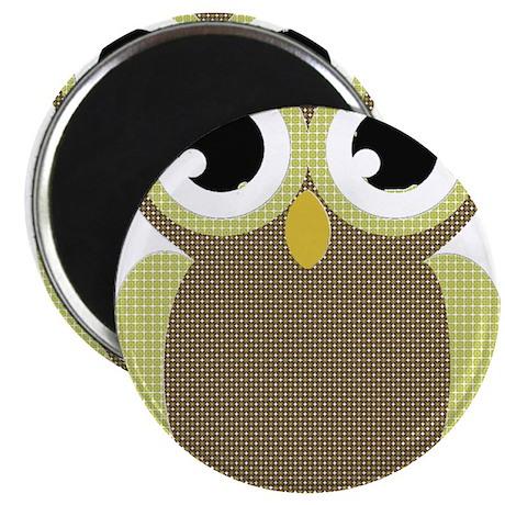 "Green Brown Mod Owl 2.25"" Magnet (100 pack)"