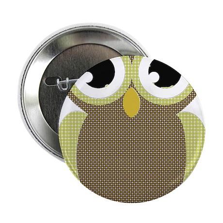 "Green Brown Mod Owl 2.25"" Button (100 pack)"